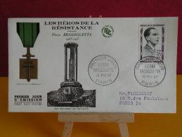 FDC - Les Héros De La Résistance, Pierre Brossolette - Paris 18.5.1957 - 1er Jour, Coté 7 € - 1950-1959