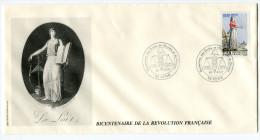 FRANCE THEME REVOLUTION FRANCAISE ENVELOPPE OBLITERATION 54 VEHO 26 AOUT 1989 DECLARATION DES DROITS......... - Franz. Revolution
