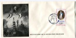 FRANCE THEME REVOLUTION FRANCAISE ENVELOPPE OBLITERATION 83 SAINT MAXIMIN 30 VII 89 DISTRICT DE MARATON - Franz. Revolution