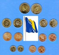BOSNIA & HERCEGOVINA BOSNA - FULL SET - 7 All UNC - 2 Bimetal Coin - ANIMAL - Bosnien-Herzegowina
