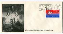 FRANCE THEME REVOLUTION FRANCAISE ENVELOPPE OBLITERATION 57 YUTZ 21-9-1989 AVEC FLAMME 1789-1989 BICENTENAIRE YUTZ - Franz. Revolution