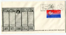 FRANCE THEME REVOLUTION FRANCAISE ENVELOPPE OBLITERATION 28 VOVES 27-10-1989 AVEC FLAMME VOVES FOYER LAIQUE 1789-1989 - Franz. Revolution