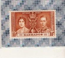,BARBADOS  --   INSULAIRE DES ANTILLES   --   12 MAI 1937   --  **  1. 1/2 D  **  --   NEUF - West Indies