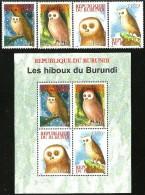 Burundi - 2009 - Owls Of Burundi - Mint Stamp Set And Souvenir Sheet