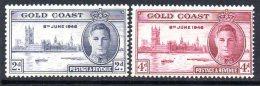 Gold Coast GVI 1946 Victory Set Of 2 Perf. 13½, Hinged Mint (A) - Gold Coast (...-1957)