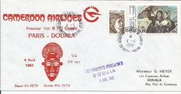 Cameroon Cameroun 1981 FFC Charles De Gaulle-Paris Douala Cameroon Airlines First Flight Cover - Kameroen (1960-...)