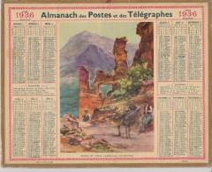 CALENDRIER 1936 - ALMANACH Des POSTES Et Des TELEGRAPHES - Ruines Du Vieux Castellar - Dépt Ille Et Vilaine - Complet. - Calendriers