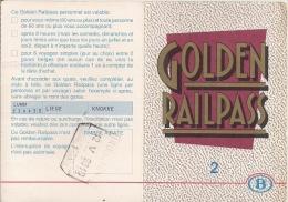 SNCB - GOLDEN RAILPASS  - 1993 (Carte Pour 6 Voyages Pour Les Plus De 60 Ans) - Railway