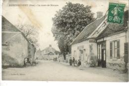 60-BERTHECOURT-Une Vue Du Café Route De HERMES -Animé - Francia