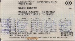 SNCB - GOLDEN RAILPASS  - Carte pour 6 voyages pour les plus de 60 ans (2001)