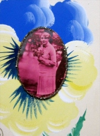 Carte Fantaisie Unique Peinte A La Main Avec Medaillons A Points Brillants  Fleurs - Fancy Cards
