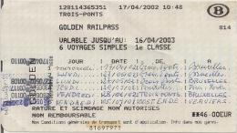 SNCB - GOLDEN RAILPASS  - Carte pour 6 voyages pour les plus de 60 ans (2002)