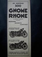 - COLLECTION - PUB - PUBLICITE- Moto - Gnome Rhone - 1933 - - Reclame