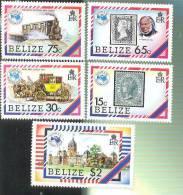 MNH BELIZE # 726-30 : STAMPS AUSIPEX TRAINS - Belize (1973-...)