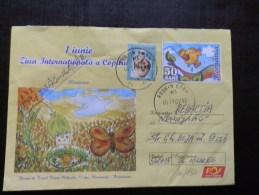 46/130  ENVELOPPE  ROUMANIE - Butterflies