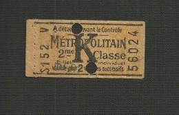 Ticket Métropolitan K 2ème Classe Valable Pour 2 Voyages Successifs - Métro