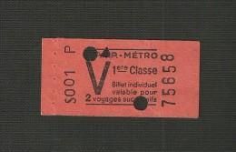 ticket RATP M�tro V 1 �re classe valable pour 2 voyages successifs