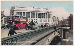LONDON, England, 1920-1930's; Unilever House, Blackfriars Bridge, Horse Carriages, Double Decker Bus - London