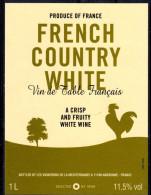 THEME ANIMAUX étiquette De Vin De FRENCH COUNTRY WHITE / COQ - Galli