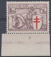 N� 400 PL8, 5F+5F violet-brun, Chevalier, avec 'atelier du timbre', centrage parfait, **/MNH