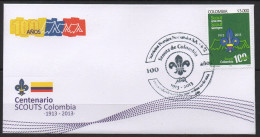KOLUMBIEN / COLOMBIA  2014 ISSUE. SCOUTS FDC.-.  100 YEARS IN COLOMBIA 1913-2013 - Colombia