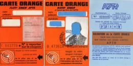 CARTES ORANGE   Ratp Sncf  Aptr   (lot de 2)