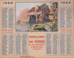 CALENDRIER DES POSTES ALMANACH 1952  PUBLICITE BLANCHISSERIE A VIROFLAY 78  RENE BIGORGNE SUPERBE ! ! !