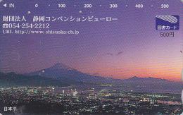 Carte  Japon - MONT FUJI & COUCHER DE SOLEIL - SUNSET Japan Prepaid Card - SONNENUNTERGANG Tosho Karte - 271 - Gebirgslandschaften