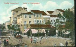 Rare Rarität Litho Recife Pernambuco Brasil Praca Da Independencia Um 1910 Tramway Tram Calcados - Recife