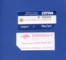 VP - Ticket transport autobus Cotra � ANGERS  - au verso publicit� Opticien VERCHALY