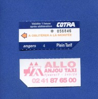 VP - Ticket transport autobus Cotra � ANGERS  - au verso publicit� Allo Anjou Taxi