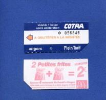 VP - Ticket transport autobus Cotra � ANGERS  - au verso publicit� Fast food Mac Donald�s - Frites - restaurant