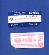 VP - Ticket transport autobus Cotra � ANGERS  - au verso publicit� Fast food Mac Donald�s - Cheeseburger - restaurant