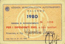 PALERMO / ABBONAMENTO AUTOBUS AMAT DIPENDENTI ENEL 1980