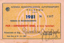 PALERMO / ABBONAMENTO AUTOBUS AMAT DIPENDENTI ENEL 1981