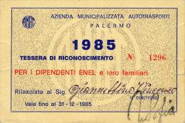 PALERMO / ABBONAMENTO AUTOBUS AMAT DIPENDENTI ENEL 1985