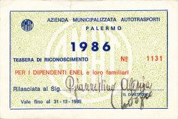 PALERMO / ABBONAMENTO AUTOBUS AMAT DIPENDENTI ENEL 1986