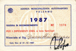 PALERMO / ABBONAMENTO AUTOBUS AMAT DIPENDENTI ENEL 1987
