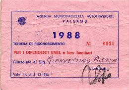 PALERMO / ABBONAMENTO AUTOBUS AMAT DIPENDENTI ENEL 1988