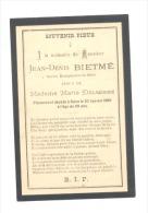 Faire-part De Décès De Jean BIETME, Ancien Bourgmestre De SAIVE 1889 (b157) - Overlijden