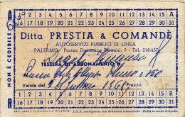 PALERMO / ABBONAMENTO MENSILE DITTA PRESTIA & COMANDE' PUBBLICO DI LINEA 1968