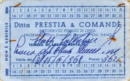 PALERMO / ABBONAMENTO MENSILE DITTA PRESTIA & COMANDE� PUBBLICO DI LINEA 1968