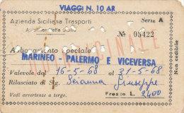 PALERMO - MARINEO / ABBONAMENTO QUINDICINALE AZIENDA SICILIANA TRASPORTI 1968