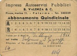 PALERMO S. GIUSEPPE JATO / ABBONAMENTO QUINDICINALE B. VALENZA & C. 1966
