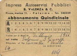 PALERMO S. GIUSEPPE JATO / ABBONAMENTO QUINDICINALE B. VALENZA & C. 1966 - Europe