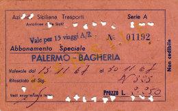 PALERMO BAGHERIA / ABBONAMENTO SPECIALE MENSILE AZIENDA SICILIANA TRASPORTI 1967