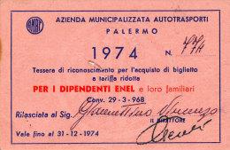 PALERMO / ABBONAMENTO AUTOBUS AMAT DIPENDENTI ENEL 1974