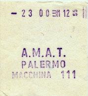 PALERMO / BIGLIETTO INTERNO A.M.A.T. DA MACCHINA DI BORDO 111