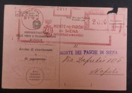 ITALIA REPUBBLICA AFFRANCATURE MECCANICHE 1950 BANCA MONTE DEI PASCHI SIENA