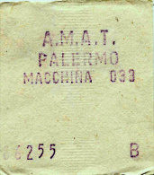 RARO PALERMO / BIGLIETTO INTERNO A.M.A.T. DA MACCHINA DI BORDO 033